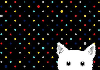 Фотообои White Cat Красочные Dots фон звезды векторной иллюстрации