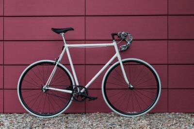 Фотообои Белый Fixie велосипед в розовом стене