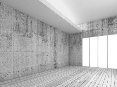 Фотообои Белый фон интерьера с деревянным полом, 3d