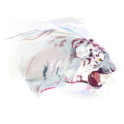Фотообои Белый тигр, акварель иллюстрации
