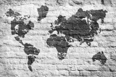 Фотообои Белые стены и карта картина мира