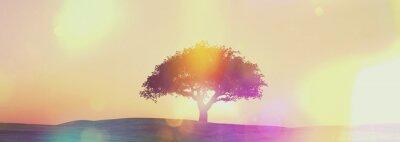 Фотообои Широкоэкранный закат дерево пейзаж с ретро эффект