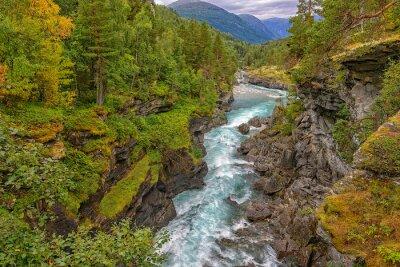Фотообои Дикий горная река между крутыми скалами