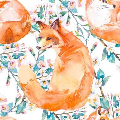 Фотообои Дикая природа узор. Фокс и цветущие ветви. Вектор.