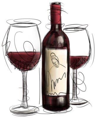 Фотообои Бутылки вина и очки