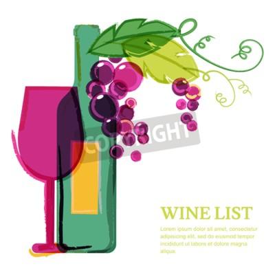 Фотообои Винные бутылки, стекло, розовый виноградной лозы, акварель иллюстрации. Абстрактные векторные фон шаблон дизайна. Концепция списка вин, меню, флаера, партии, алкогольные напитки, празднование праздник