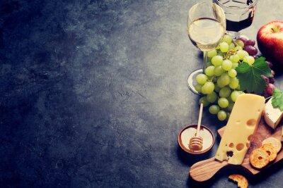 Фотообои Вино, виноград, сыр и мед
