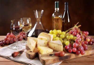 Фотообои Вино, виноград и сыр