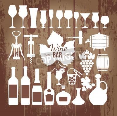 Фотообои Вино иконки дизайн набор. Вектор иллюстрации.