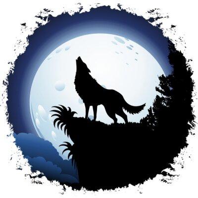 Фотообои Волк воет на Blue Moon на гранж кадр