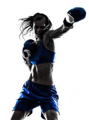 Фотообои женщина боксер Бокс Кикбоксинг силуэт, изолированных