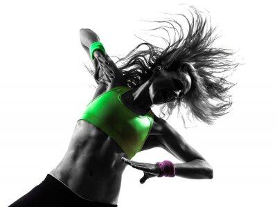 Фотообои женщина, осуществляющих фитнес Zumba танцы силуэт