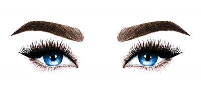 Фотообои Женские глаза с длинными ресницами. Ручной обращается акварель иллюстрации. Ресницы и брови. Дизайн для наращивания ресниц, микроблейдинга, туши для ресниц, салона красоты, косметики, визажиста. Голуб