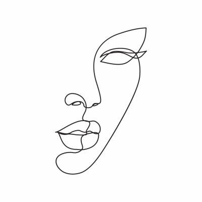 Фотообои Woman face line drawing art. Abstract minimal female face icon, logo