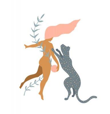 Фотообои Woman naked and Wild Cat minimal silhouette modern art print design.