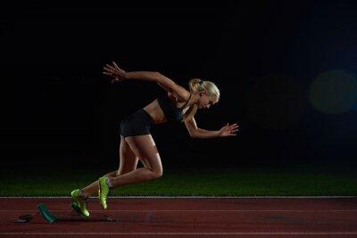 Фотообои женщина спринтер оставляя запуск блоков