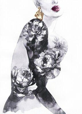 Фотообои woman with flowers. beauty background. fashion illustration. watercolor painting