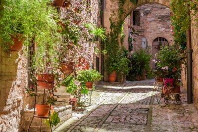 Фотообои Прекрасный оформленный крыльцо в небольшом городке в Италии летом, Умбрия