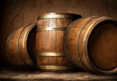 Фотообои Деревянные бочки в подвале