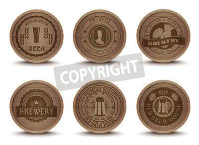 Фотообои Деревянный дом пива эмблем стиле ретро напитков капельных коврики подстаканники Коллекция икон печать абстрактных изолированных векторные иллюстрации