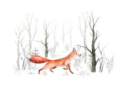Фотообои Woodland watercolor cute animals baby fox. Nursery bunny Scandinavian forest nursery fox design. Isolated character