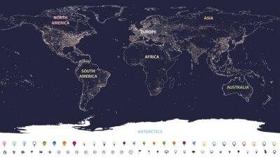 Фотообои карта городов мира с обозначенными континентами в разных цветах и значками местоположения