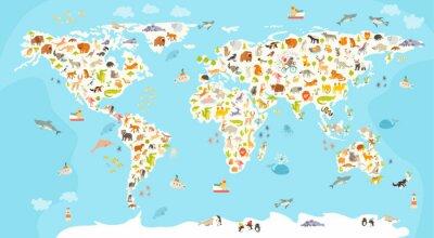 Фотообои Карта мира млекопитающее. Красивая веселая красочная векторные иллюстрации для детей и малышей. Дошкольная, ребенок, материки, океаны, нарисованы, Земля
