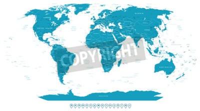 Фотообои Карта мира и навигационные иконки - иллюстрации.