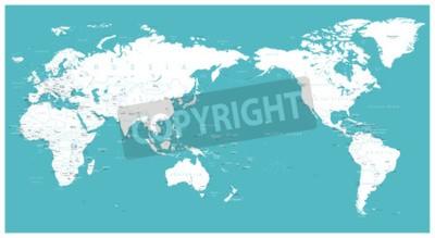 Фотообои Карта мира плоская Азия в центре вектора.