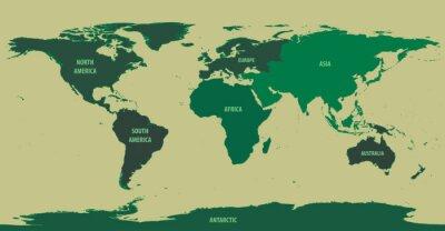 Фотообои Карта мира Зеленый с материком имен