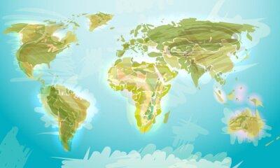 Фотообои Карта мира в стиле гранж