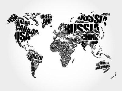 Фотообои Карта мира в Типографии слово облако концепции, названия стран