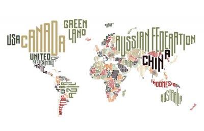 Фотообои Карта мира сделаны из типографских названий стран
