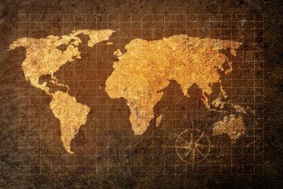 Фотообои карта мира на фоне гранж