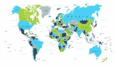 Фотообои Карта мира Политический синий зеленый коричневый вектор