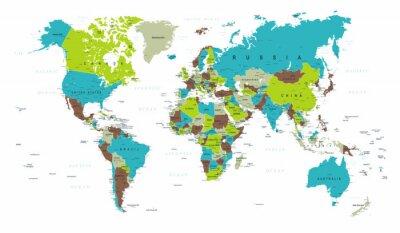 Фотообои Карта мира Политический синий зеленый серый вектор