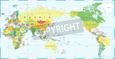 Фотообои Карта мира белый синий, Азия в центре вектора.