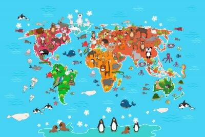 Фотообои Карта мира с животными. Обезьяны и еж, медведь и кенгуру, зайца волк панды и пингвина и попугай. Животные карта мира векторные иллюстрации в мультяшном стиле
