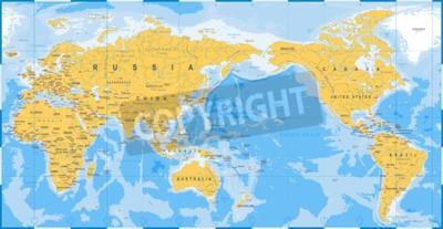 Фотообои Карта мира желтый синий, Азия в центре вектора.
