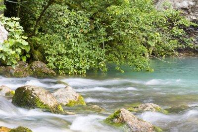 Фотообои Река находится в горах Абхазии и впадает в голубое озеро.