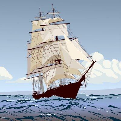 Фотообои корабль с парусами бежит по волнам