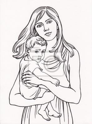 Рисунки в карандаше женщина с ребенком