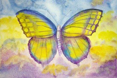 Фотообои Желтый и голубой бабочки. Техника прикладывая дает эффект мягкой фокусировки благодаря измененному шероховатости поверхности бумаги.