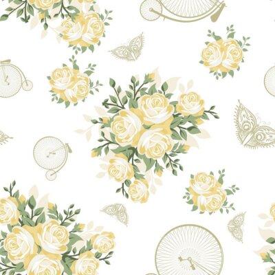 Фотообои Желтые цветы, бабочки и велосипеды бесшовные модели
