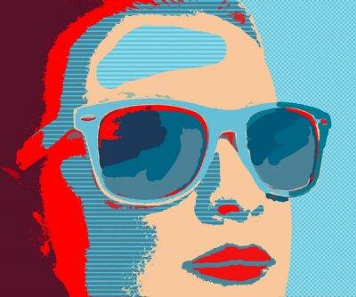 Фотообои Молодая женщина, портрет с очками в стиле поп-арт