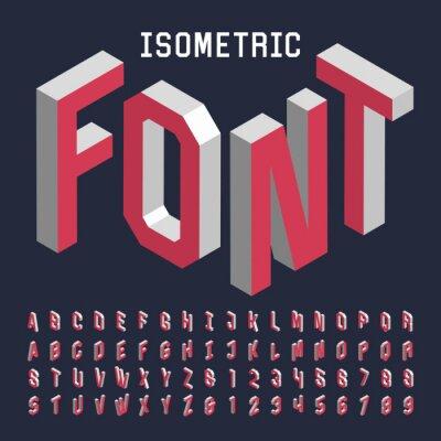 Плакат 3d Изометрические вектор алфавит шрифта. Изометрические буквы, цифры и символы. Трехмерная вектор типография для заголовков, плакатов и т.д.
