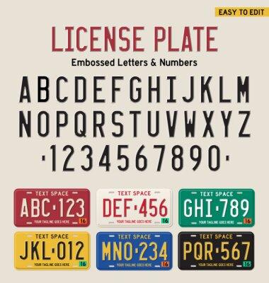 Плакат 3d номерного знака шрифта и лицензии набор пластины
