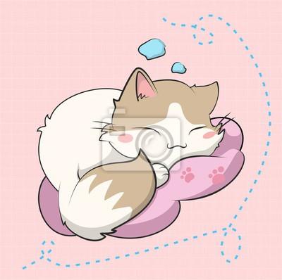 Плакат A cute cat sleeping, este gatito esta inspirado en un sticker