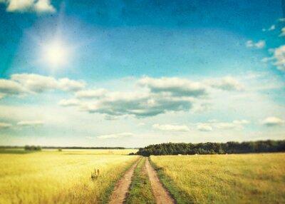 Плакат Поле золотой пшеницы и голубое небо