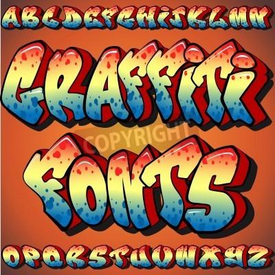 Плакат Полный набор Граффити Шрифты
